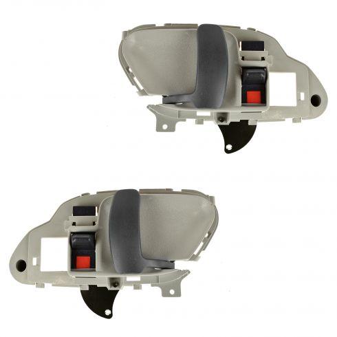 95-02 GM Full Size PU, SUV Inner Beige w/Gray Lever Inner Door Handle PAIR