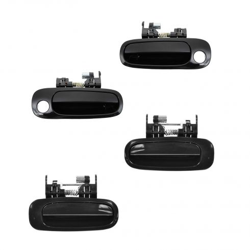 98-02 Toyota Corolla, Geo Prizm Front & Rear Smooth Black Outside Door Handle Kit (Set of 4)