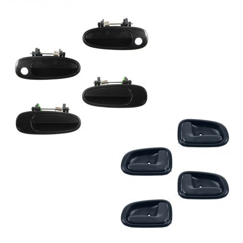 93-97 Corolla, Prizm Front & Rear Black Outside & Blue Inside Door Handle Kit (Set of 8)