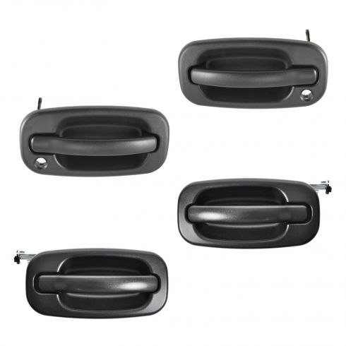 99-07 Chevy, GMC Textured Black Front & Rear Outside Door Handle Kit (with Keyhole) (Set of 4)