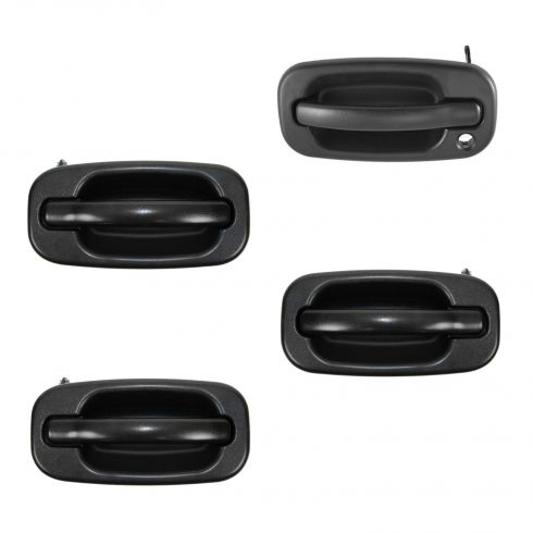 99-07 Chevy, GMC Textured Black Front & Rear Outside Door Handle Kit (without Keyhole) (Set of 4)