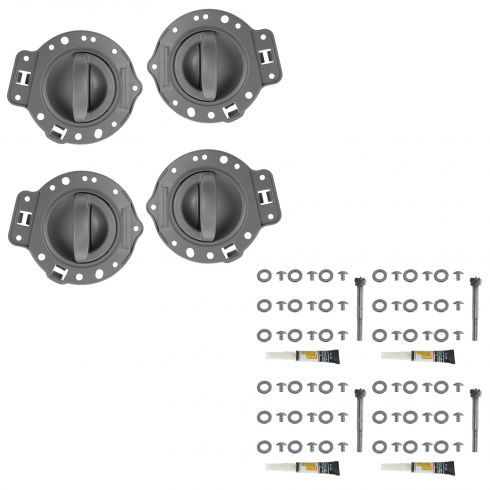 06-10 Jeep Commander Front & Rear Gray w/Chrome Inside Door Handle w/Bezel Repair Kit (Set of 4)