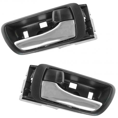 02-06 Toyota Camry Black w/Chrome Lever Inside Door Handle PAIR