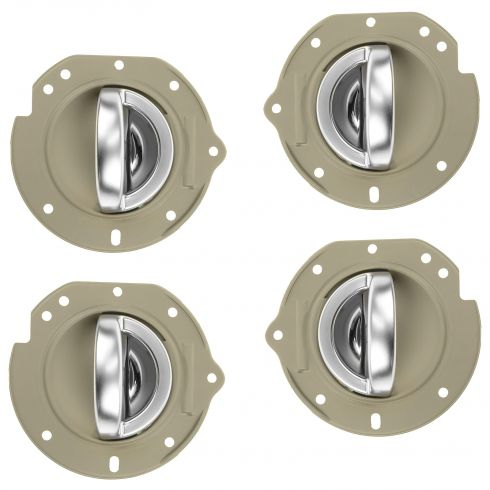 02-07 Jeep Liberty Front/Rear Taupe w/Satin Chrome Inside Door Handle w/Bezel Repair Kit (Set of 4)