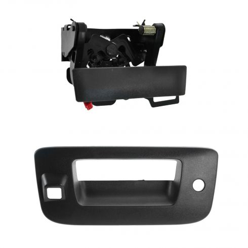 07-12 Silverado, Sierra Black Textured Tailgate Handle & Bezel Kit (w/Lock Provision & Camera Hole)