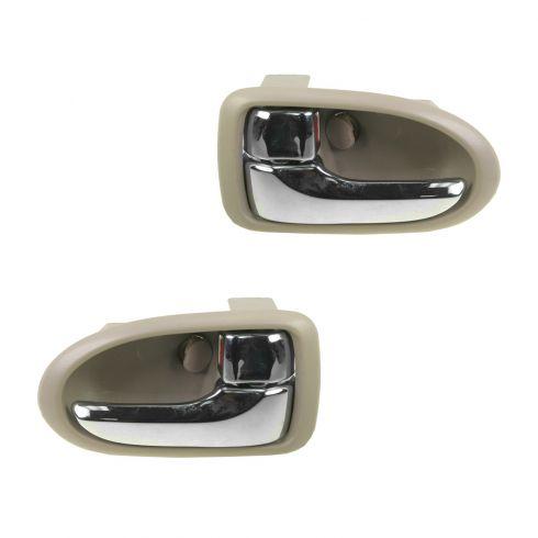 00-06 Mazda MPV Chrome & Beige Front Inside Door Handle PAIR