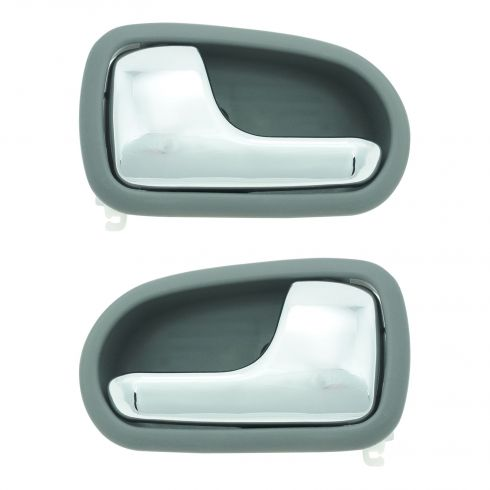 95-02 Mazda Protege Chrome & Gray Front or Rear Inside Door Handle PAIR