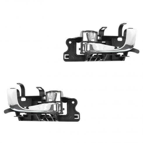 03-07 Cadillac CTS; 04-06 SRX Black w/Chrome Lever Inside Door Handle PAIR