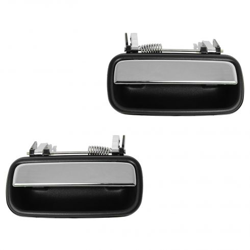 01-04 Toyota Tacoma Crew Cab Black w/Chrome Pull Lever Rear Outside Door Handle PAIR