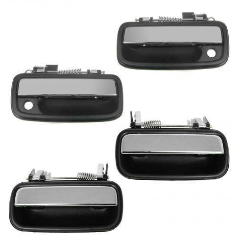 01-04 Toyota Tacoma Crew Cab Black w/Chrome Pull Lever Outside Door Handle SET of 4