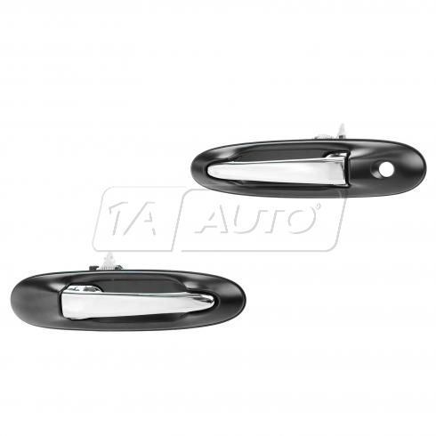 04-11 Lincoln Town Car Front Outside Black w/Chrome Door Handle PAIR