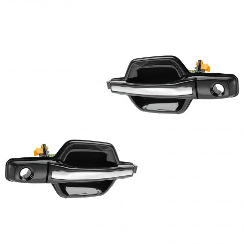 01-06 Mitsubishi Montero Front Black w/Chrome Pull Outside Door Handle (w/Keyhole) PAIR