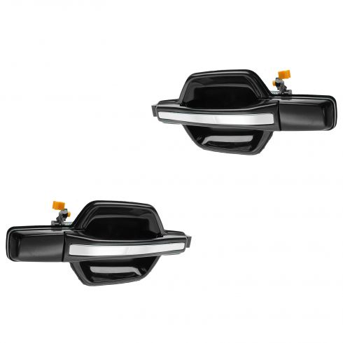 01-06 Mitsubishi Montero Rear Black w/Chrome Pull Outside Door Handle PAIR