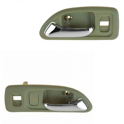 94-97 Honda Accord 4DR (w/Power Locks) Front (Beige w/Chrome Lever) Inside Door Handle PAIR