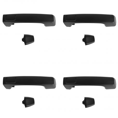 06-10 Hummer H3; 09-10 H3T Textured Black Exterior Door Handle w/Cap SET of 4