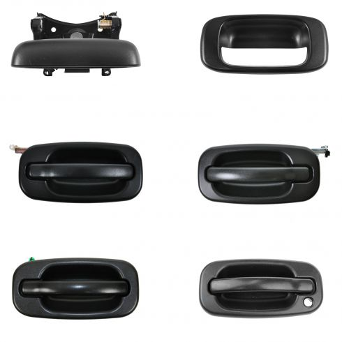 99-07 Chevy, GMC Textured Black Frt & Rr Outside Door Tailgate Handle Kit (w/o Keyhole) (Set of 4)