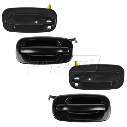 99-07 Chevy, GMC PTM Black Front & Rear Outside Door Handle Kit (w/o Keyhole) (Set of 4)