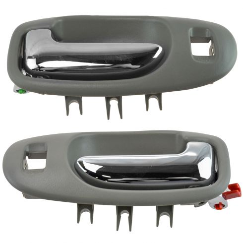 01-06 Sebring, Stratus Sedan Light Gray & Chrome Front Inside Door Handle Pair