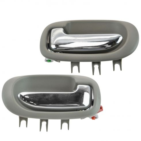 01-06 Sebring, Stratus Sedan Light Gray & Chrome Rear Inside Door Handle Pair