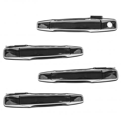 07-14 GM FS SUV; 07-14 New Body Silverado Sierra 4 DR Front & Rear Chrome Outer Door Handle SET (GM)