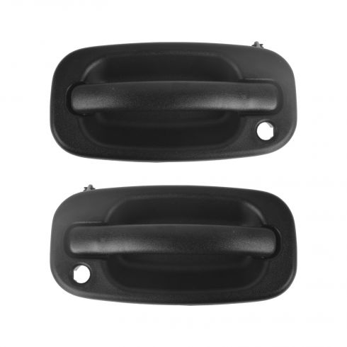 99-07 Silverado, Sierra; 00-06 FS SUV Front Text Black Outer Door Handle w/Lock Prov Pair (GM)