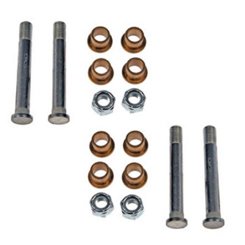 Door Hinge Pin & Bushing Kit (4 Pins, 8 Bushings, & 4 Lock Nuts)