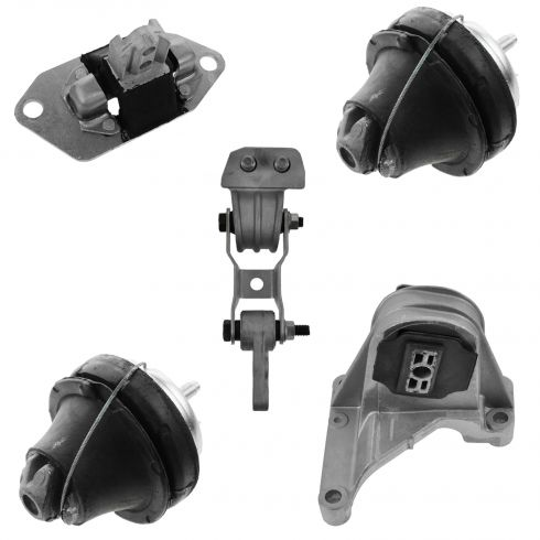 01-04 Volvo S60 2.3L; 01-02 V70 X/C; 03-07 XC70; 03-06 XC90 2.5L Engine Mount Kit (Set of 5)