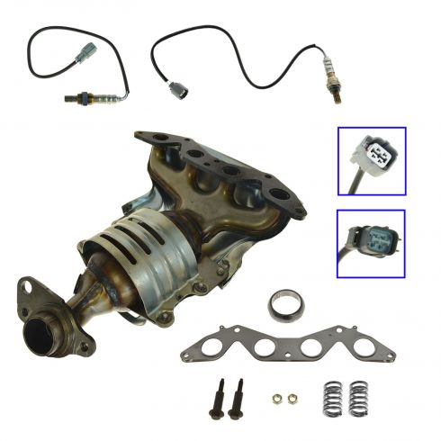 01-03 Honda Civic 1.7L (exc ex, hx) Exhaust Manifold, Cat, O2 Sensor Kit