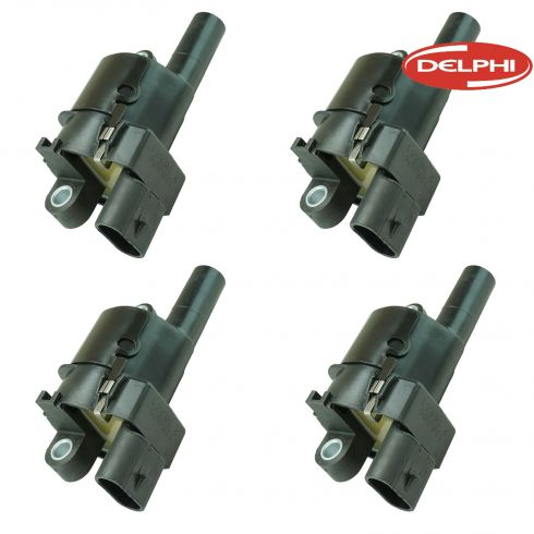 05-13 GM, Hummer, Saab Multifit w/V8 (Delphi - Round Style) Ignition Coil Set of 4 (Delphi)