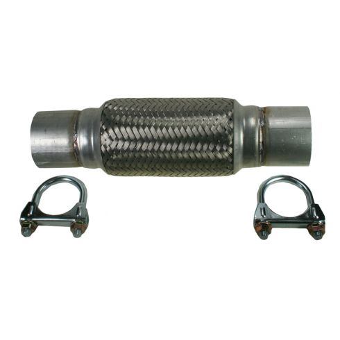 "2.5"" x 12"" Heavy Duty Flex Pipe w/ (2) Muffler Clamps"