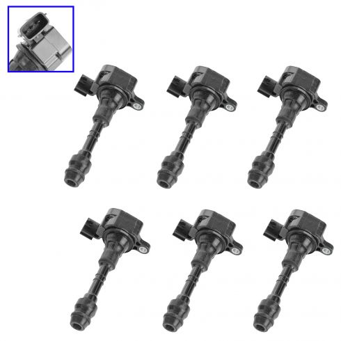 02-11 Nissan 3.5L Ignition Coil with Spark Plug Boot (Set of 6)