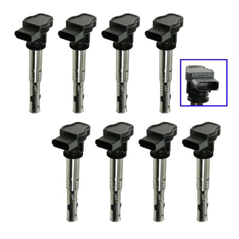 05-12 Audi, VW Multifit w/2.0L, 2.5L, 4.2L Black Connector Ignition Coil (set of 8)