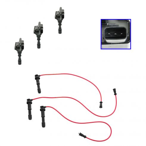 02-05 Kia Sedona w/3.5L; 01 Hyundai XG300; 02 XG350 Spark Plug Wire & Coil Set
