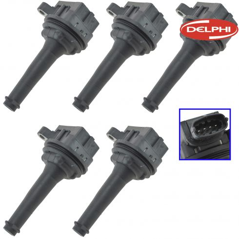 99-09 Volvo C70, S60, S70, S80, V70, XC70, XC90 Multifit Ignition Coil Set of 5 (Delphi)