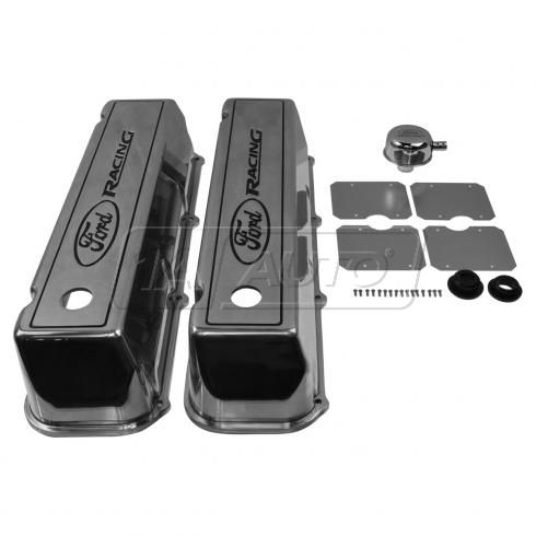 Ford Multifit w/429, 460 Polished Alum ~Ford Racing~ Logoed 4.5 in Valve Cover PAIR (Ford Racing)