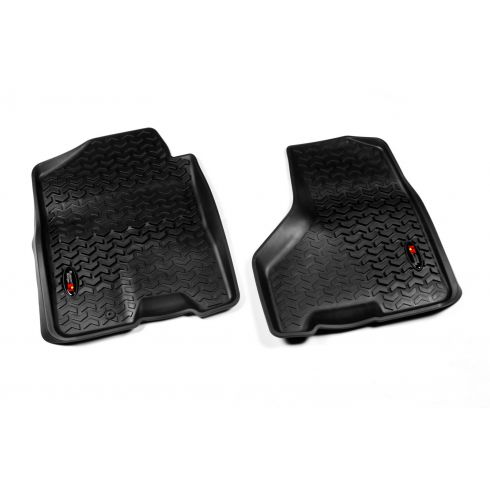 09-11 Dodge Ram 1500-3500 Crew Cab w/1 Hook Black Front Floor Liner SET (Rugged Ridge)