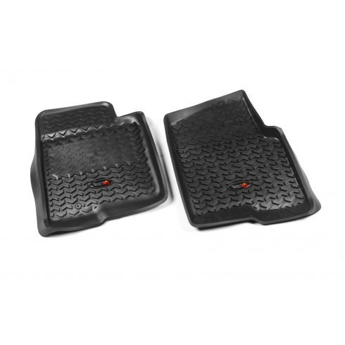 09-10 Ford F150 w/1 Hook Black Front Floor Liner SET (Rugged Ridge)