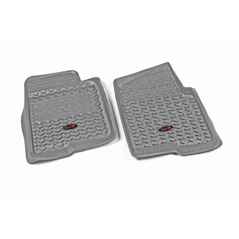 09-10 Ford F150 w/1 Hook Gray Front Floor Liner SET (Rugged Ridge)