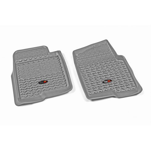 11-14 Ford F150 w/1, 2 Hook Gray Front Floor Liner SET (Rugged Ridge)