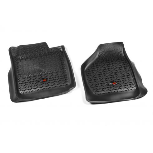 08-10 Ford F250SD, F350SD w/Elect 4WD Black Front Floor Liner SET (Rugged Ridge)