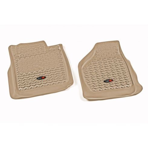 08-10 Ford F250SD, F350SD w/Elect 4WD Tan Front Floor Liner SET (Rugged Ridge)