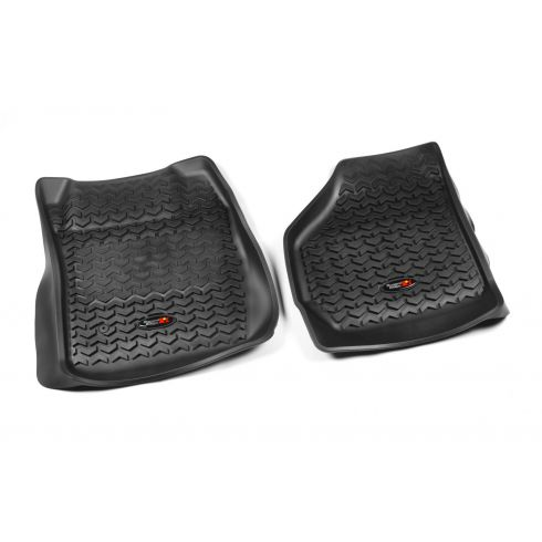 99-07 Ford F250SD, F350SD w/Elect 4WD Black Front Floor Liner SET (Rugged Ridge)