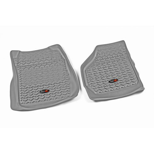 99-07 Ford F250SD, F350SD w/Elect 4WD Gray Front Floor Liner SET (Rugged Ridge)