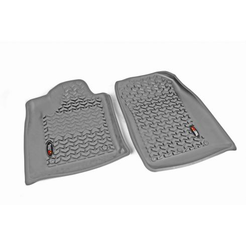 12-14 Dodge Durango, Jeep Grand Cherokeew/RH 2 Hook Gray Front Floor Liner SET (Rugged Ridge)
