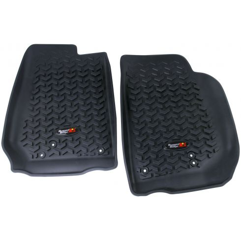 14 Jeep Wrangler (2DR/4DR) Black Front Floor Liner SET (Rugged Ridge)