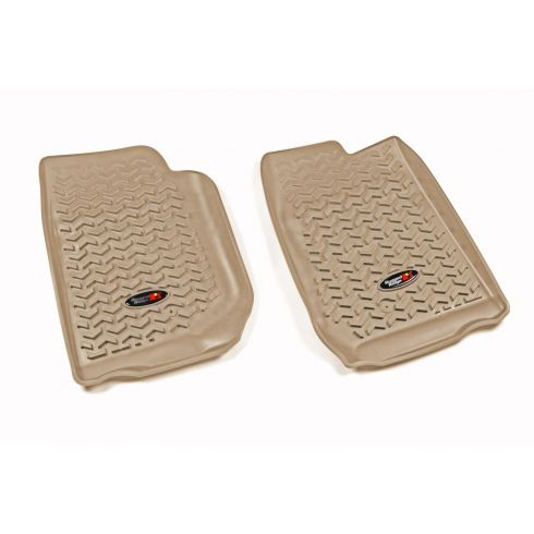 07-13 Jeep Wrangler (2DR/4DR) w/LHD Tan Front Floor Liner SET (Rugged Ridge)