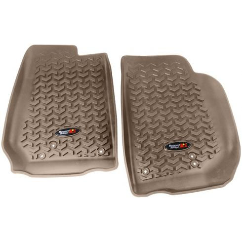 14 Jeep Wrangler (2DR/4DR) Tan Front Floor Liner SET (Rugged Ridge)