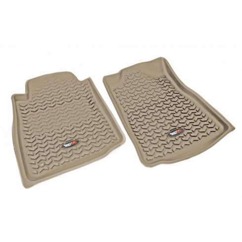 05-11 Toyota Tacoma w/AT & Std Hook Tan Front Floor Liner SET (Rugged Ridge)