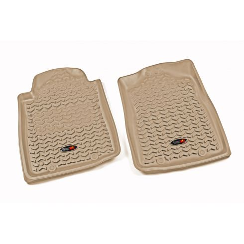 12-14 Toyota Tacoma w/AT & Twist Hook Tan Front Floor Liner SET (Rugged Ridge)