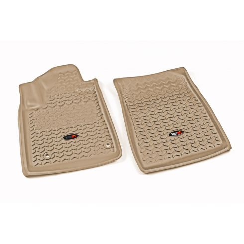 12-14 Toyota Tundra, Sequoia w/Twist Hook Tan Front Floor Liner SET (Rugged Ridge)